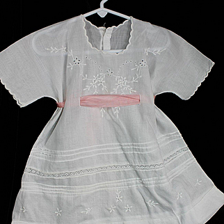 Antique Whitework Doll Dress with Embroidery
