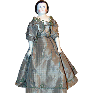 """Antique """"ALICE"""" China Doll w/ Snood"""