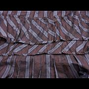 SALE!!!  Antique silk ruffled fabric Civil War Plaid dolls