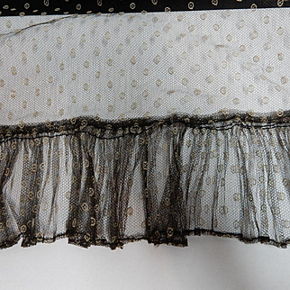 Antique unusual embroidered tulle net COOL! fabric and ruffle dolls To be removed 2.13.17