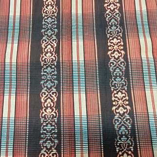 Antique striped paisley red and brown cotton Civil War era roller print #3
