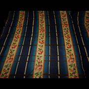 Antique wool silk blend fabric roses blue stripes dolls
