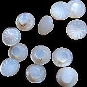 12 Vintage tiny decorative buttons MOP dolls