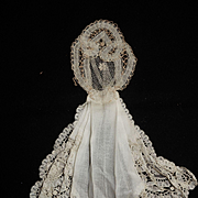 Antique princess lace formed jabot dress panel dolls free shipping