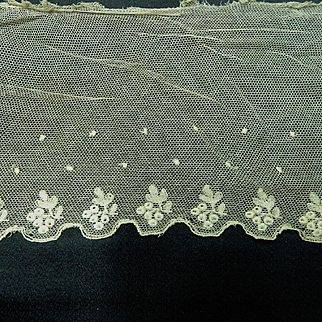 Antique embroidered net lace trim dolls
