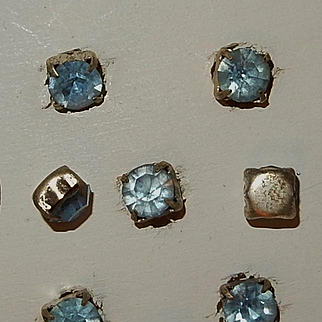 Vintage blue rhinestone pronged buttons dolls