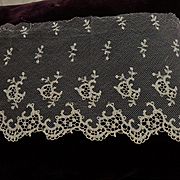 Antique embroidered net lace trim  cutwork doll