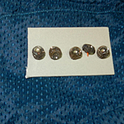 """5 Antique silver toned buttons 3/8""""  dolls"""