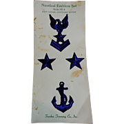 Vintage rayon star and eagle and anchor embroidered appliques