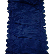Antique Ca 1870 blue silk narrow piece dolls