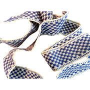 Vintage blue white woven trim dolls