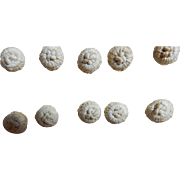 6 Antique fabric crochet covered buttons dolls