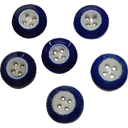 6 Antique blue rimmed china buttons dolls enfantine