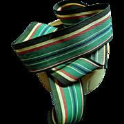 Antique wonderful striped cotton border ribbon trim dolls Enfantine