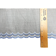 Antique embroidered organdy trim dolls blue on white