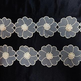Vintage organdy flowers raised seeds dolls