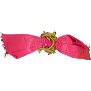Antique pink velvet bow and rosettes dolls