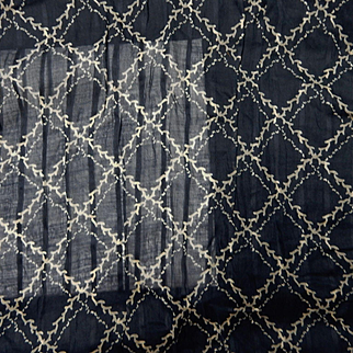 Antique indigo voile cotton grid pattern dolls