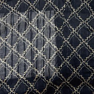 Antique indigo blue sheer cotton voile grid pattern #2 2 pieces