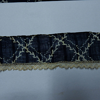 Antique indigo blue sheer cotton voile grid pattern lace edged ruffle 2 yards