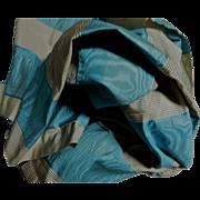 Antique luscious blue pattern moire silk Ca 1865 dolls #1