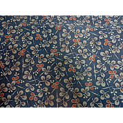 Antique blue uniquely patterned roller print cotton turkey red