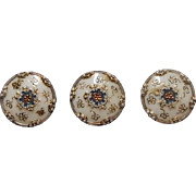 Antique stunning button painted white china