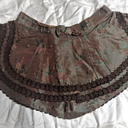 Antique unusual doll silk skirt with bow and lining