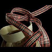 """Vintage tartan plaid ribbon Switzerland dolls 1/2"""""""