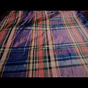 Antique Civil War silk plaid fabric unusual colors dolls #1