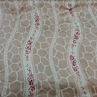 Antique Ca 1885 silk roses  flower stripe fabric#1