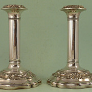 Pair of English Edwardian Silver Plated Candlesticks