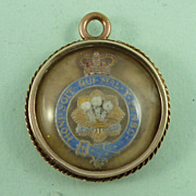 Welch Regiment Essex Crystal 'Sweetheart' Gold Pendant Military Antique