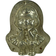 German Tin Kewpie Girl Cartoon Character Chocolate Mold Vintage
