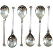 English Sterling Silver Ionic Column Coffee Spoons Set of 6 Boxed