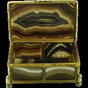 Antique Striking Banded Agate Hardstone Box Gilt Brass