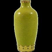 Antique Chinese Gold Mounted Porcelain Snuff Bottle Yellow Crackle Glaze Vase
