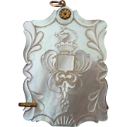Victorian Aide Memoire Carved Armorial MOP Chatelaine