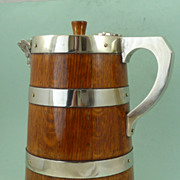 Huge Victorian silver plate banded coopered oak pitcher
