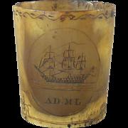 Georgian Engraved Horn Cup Sailing Ship Scrimshaw