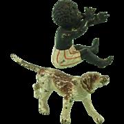 Austrian Cold Painted Bronze Black Boy & Dog