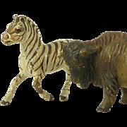 Austrian Cold Painted Bronze Zebra Buffalo
