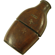 Antique Leather Case Glass Hip Flask