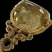 Antique Gilt Metal Smoky Quartz Swivel Intaglio Seal Spinner