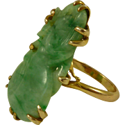 Antique Chinese Jade Eggplant Carving 15K Gold Art Deco Ring