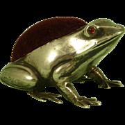 Silver Frog Pin Cushion Novelty Hallmarked 1908