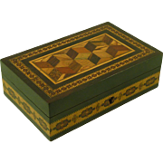 Tunbridge Ware Jewelery Ring Box Barton Makers Label Perspective Cube Antique