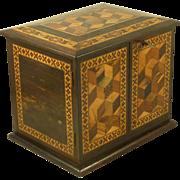 Tunbridge Ware Barton Cabinet Drawers Chest Jewelry Box Cube Label Mark Antique