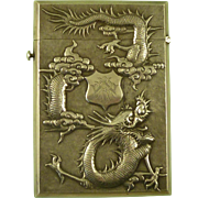 Chinese Export Visiting Card Case Solid Silver Marked WN Antique
