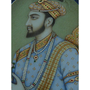 Pair of Indian Portrait Miniature Paintings Mughal Princess Mumtaz Mahal Emperor Shah Jahan Antique